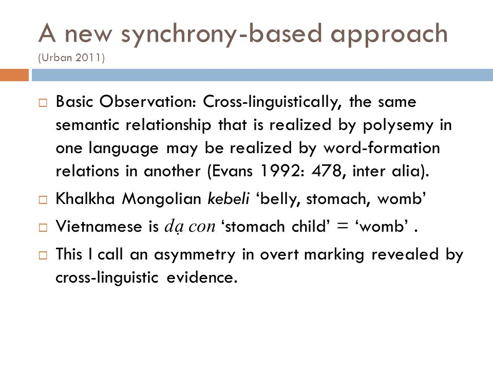 A new synchrony-based approach (Urban 2011)