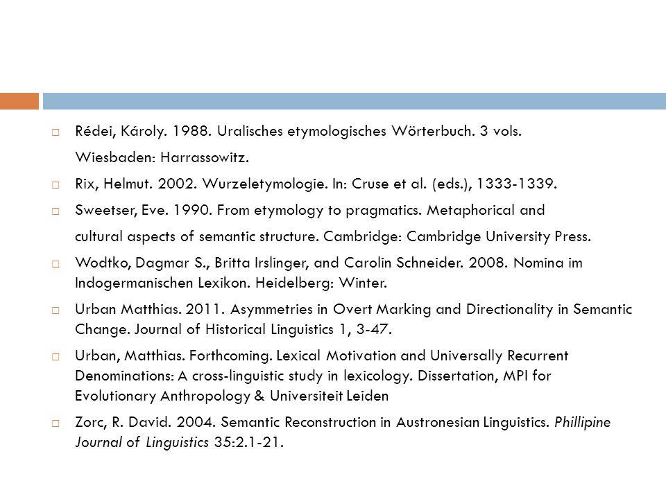 Rédei, Károly. 1988. Uralisches etymologisches Wörterbuch. 3 vols.