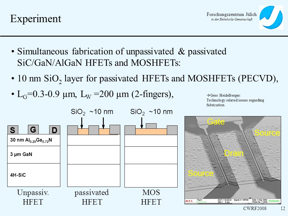 Experiment Simultaneous fabrication of unpassivated & passivated SiC/GaN/AlGaN HFETs and MOSHFETs: