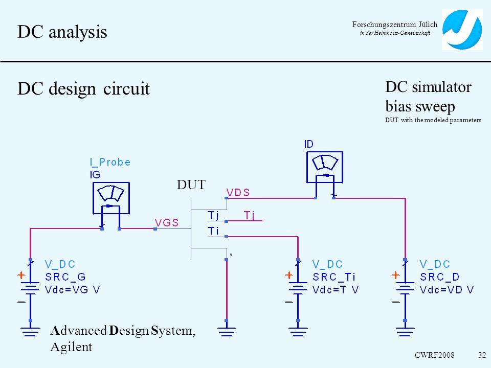 DC analysis DC design circuit DC simulator bias sweep DUT