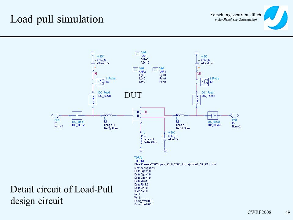 Load pull simulation DUT Detail circuit of Load-Pull design circuit
