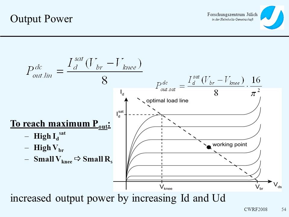 increased output power by increasing Id and Ud