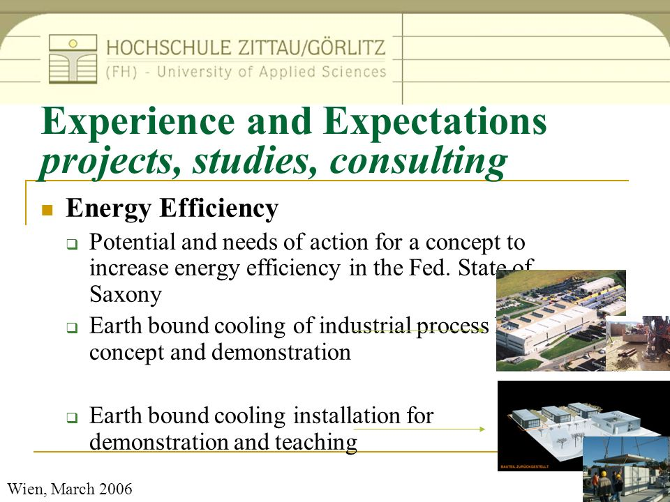 Experience and Expectations projects, studies, consulting