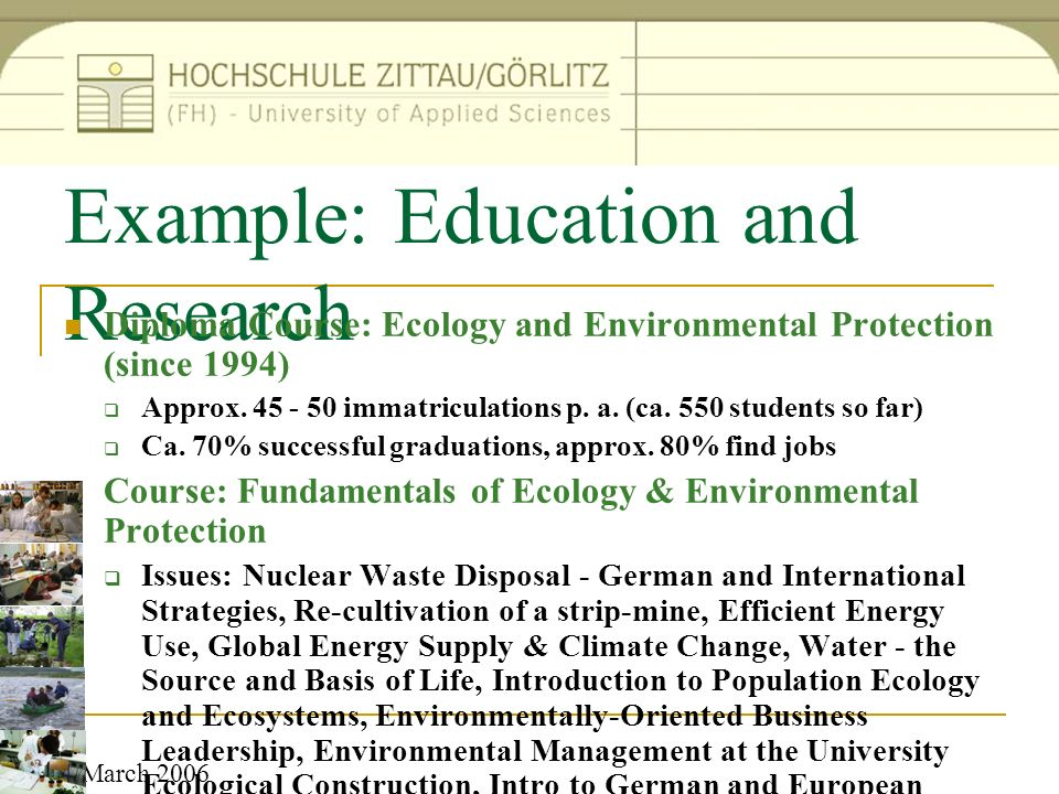 Example: Education and Research