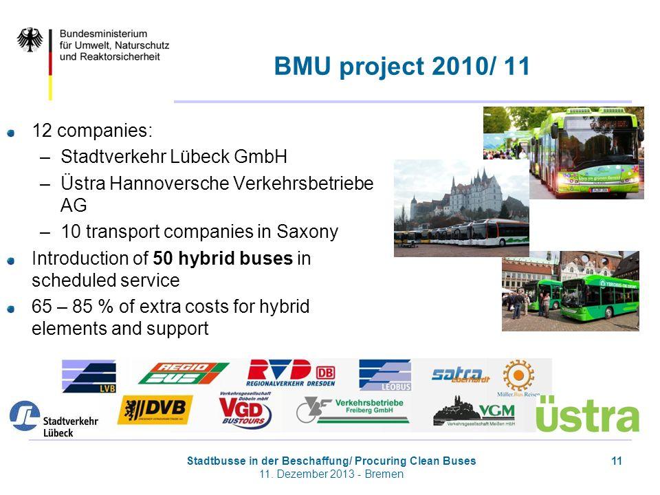 BMU project 2010/ 11 12 companies: Stadtverkehr Lübeck GmbH
