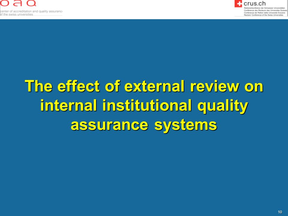 The effect of external review on internal institutional quality assurance systems