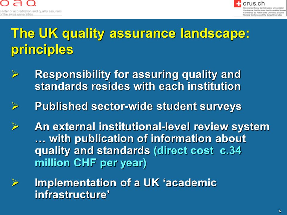 The UK quality assurance landscape: principles