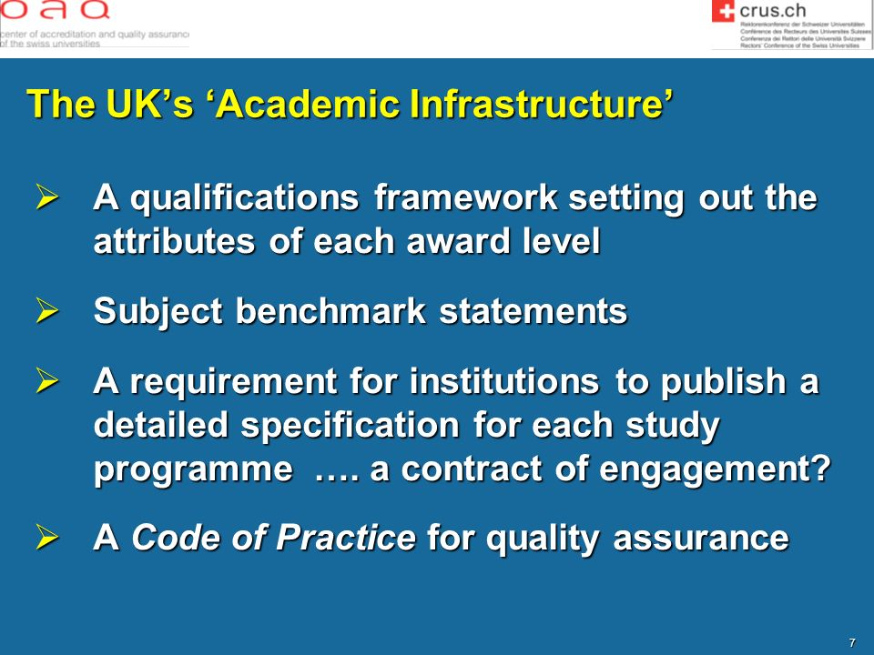 The UK's 'Academic Infrastructure'