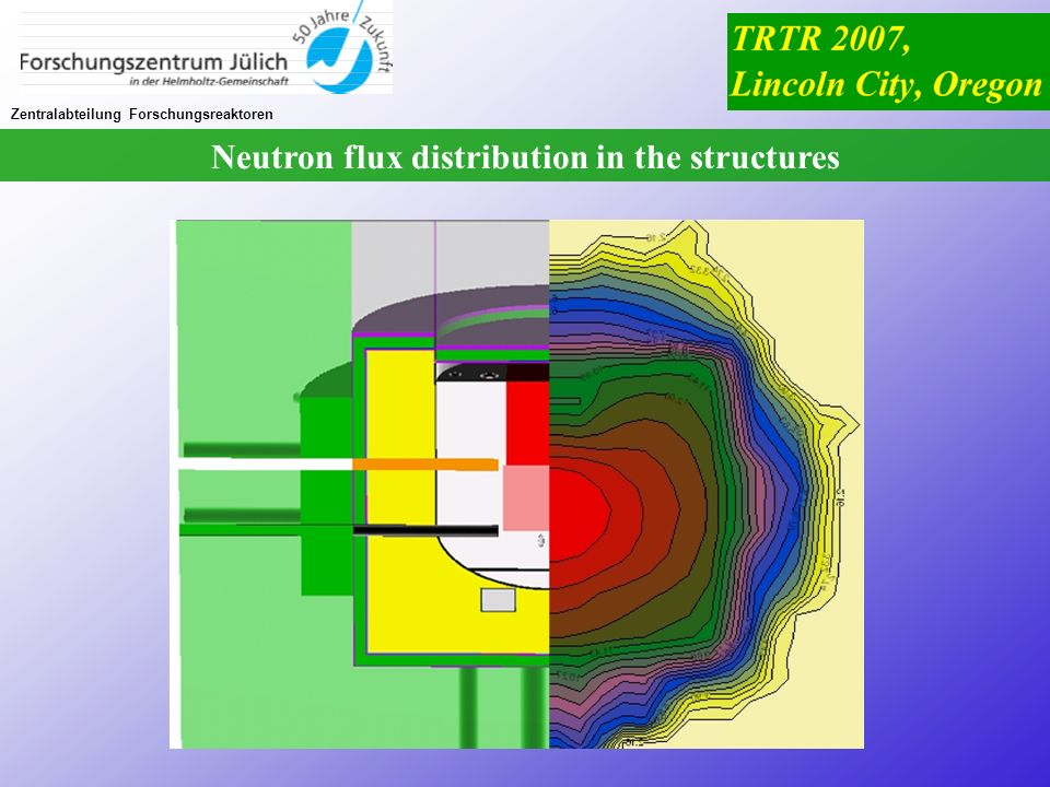 Neutron flux distribution in the structures