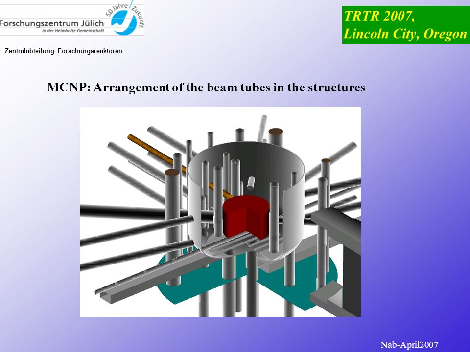 MCNP: Arrangement of the beam tubes in the structures