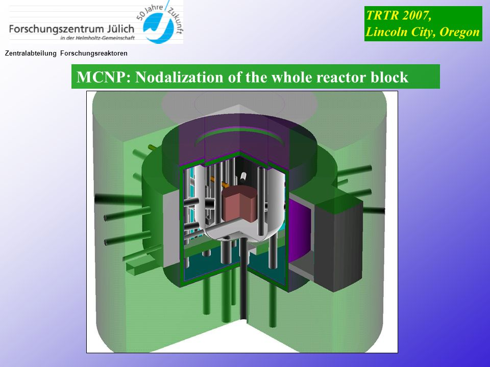 MCNP: Nodalization of the whole reactor block