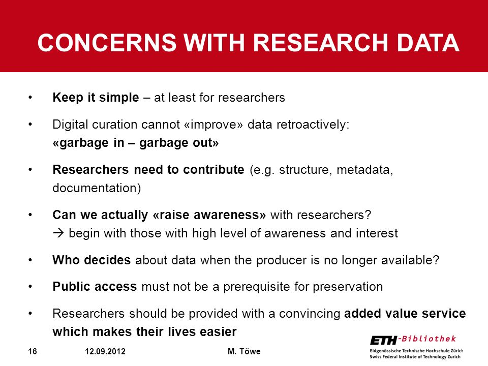 Concerns with research data