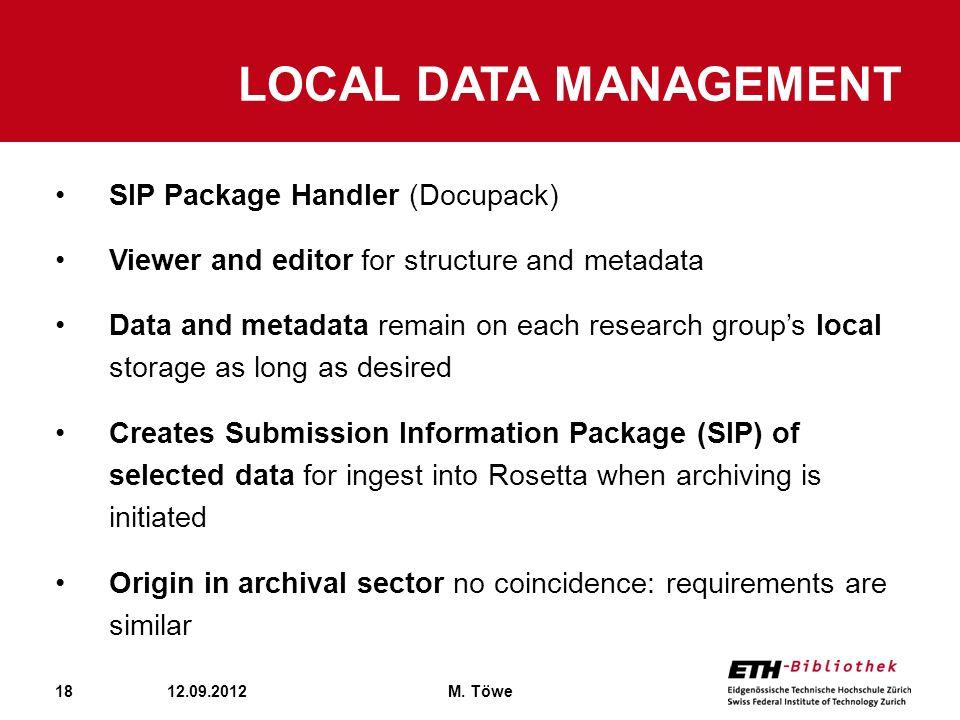 Local Data management SIP Package Handler (Docupack)