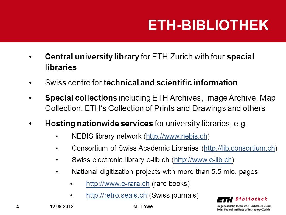 ETH-Bibliothek Central university library for ETH Zurich with four special libraries. Swiss centre for technical and scientific information.