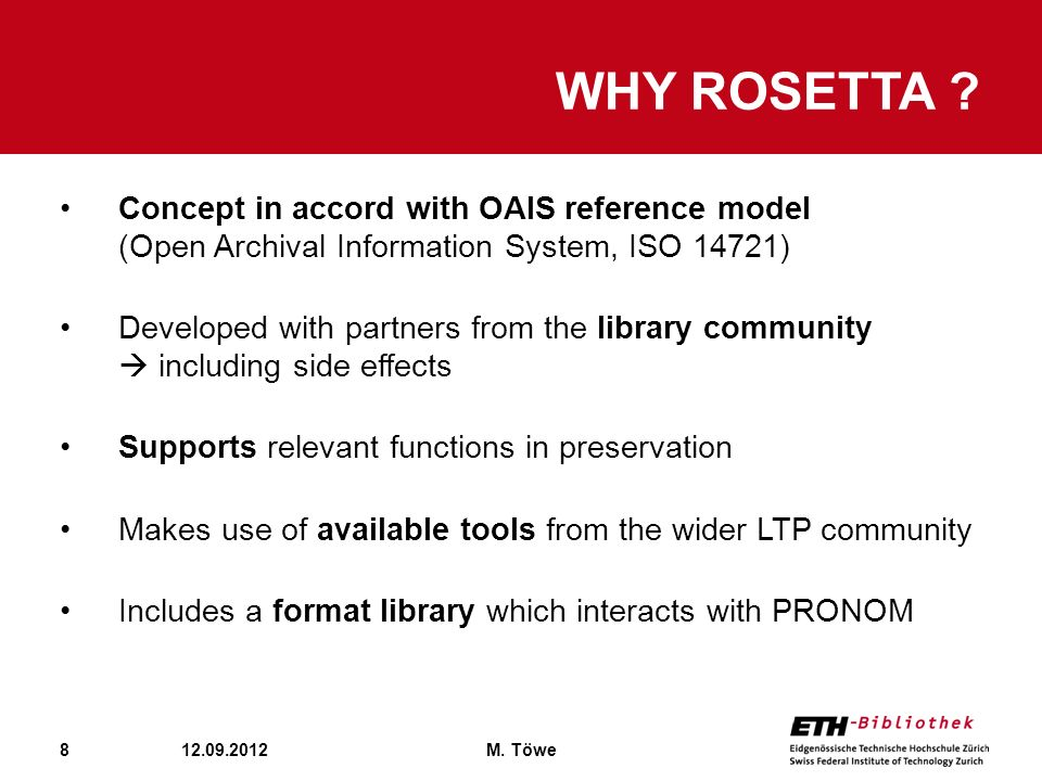Why Rosetta Concept in accord with OAIS reference model (Open Archival Information System, ISO 14721)