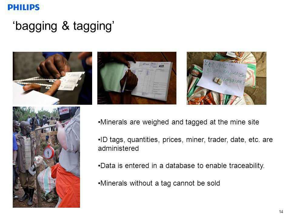 'bagging & tagging' Minerals are weighed and tagged at the mine site