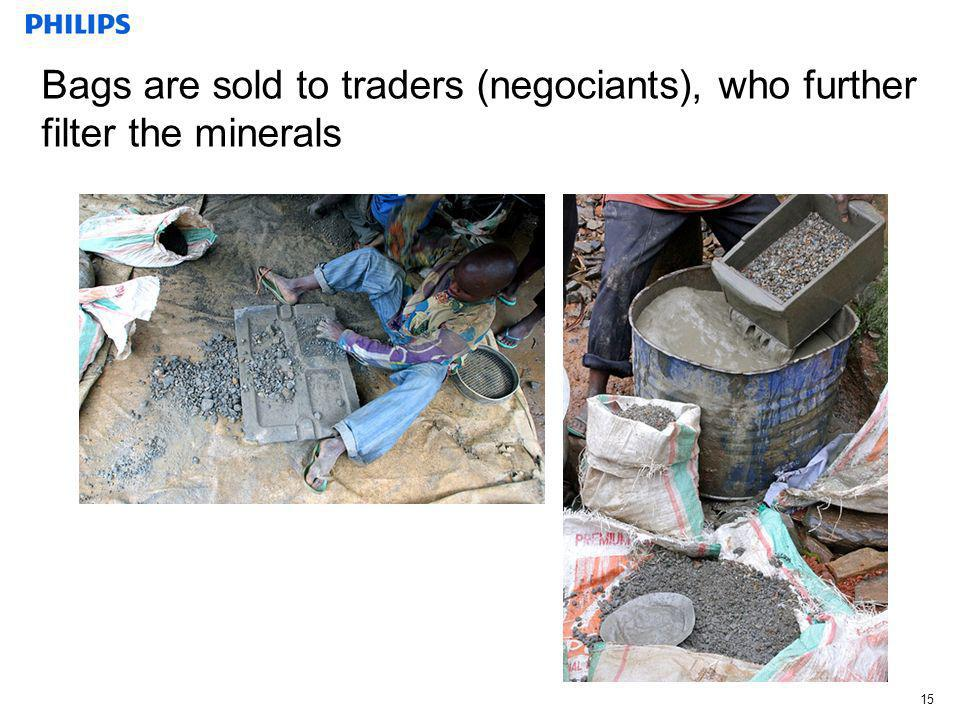 Bags are sold to traders (negociants), who further filter the minerals