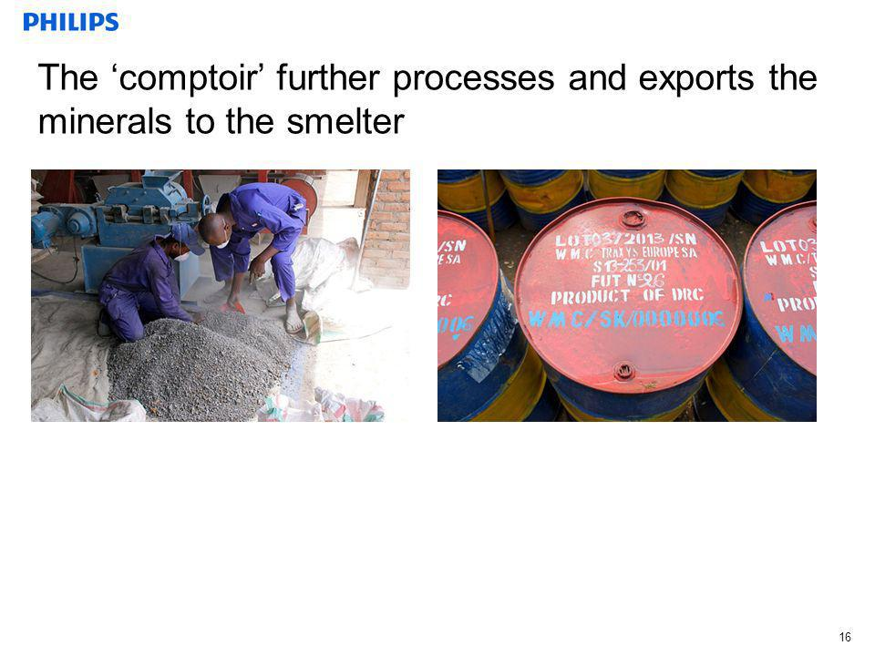The 'comptoir' further processes and exports the minerals to the smelter