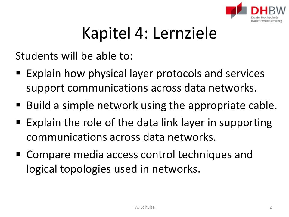 Kapitel 4: Lernziele Students will be able to: