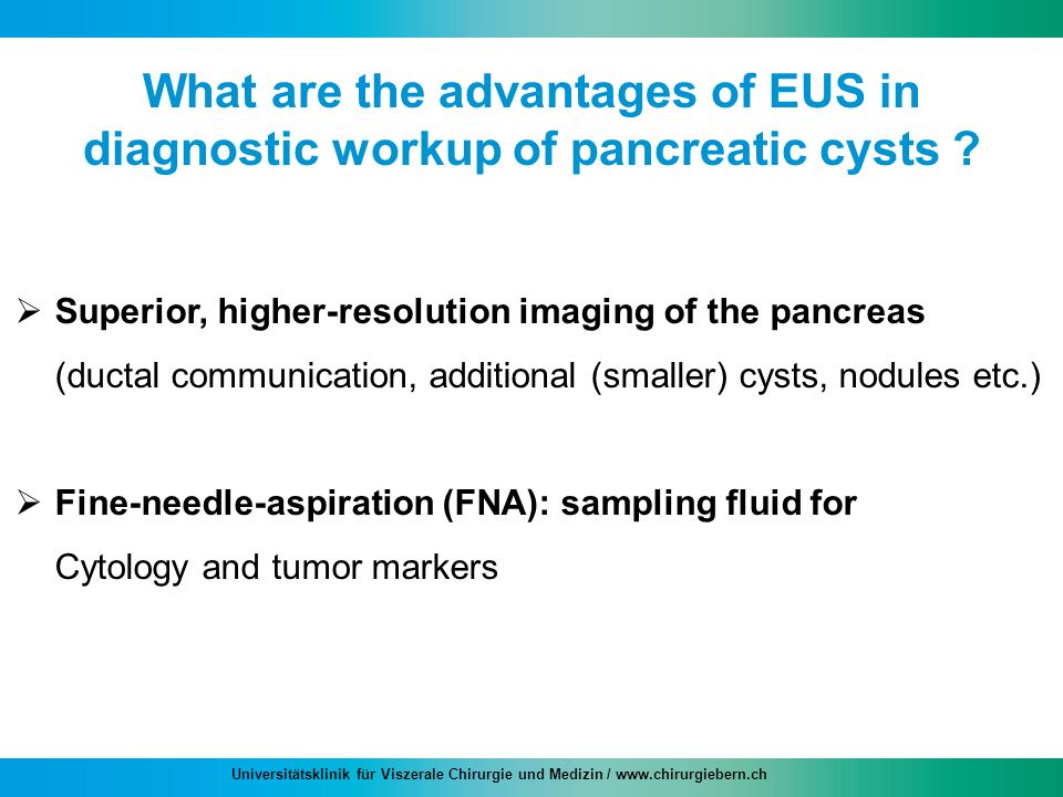 What are the advantages of EUS in diagnostic workup of pancreatic cysts