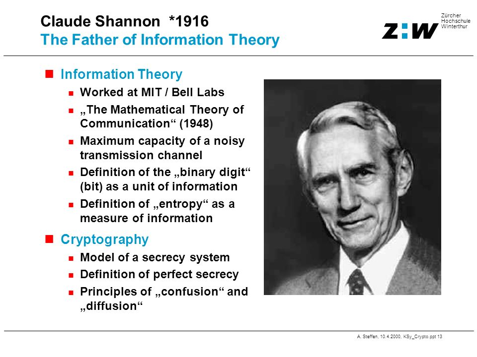 Claude Shannon *1916 The Father of Information Theory