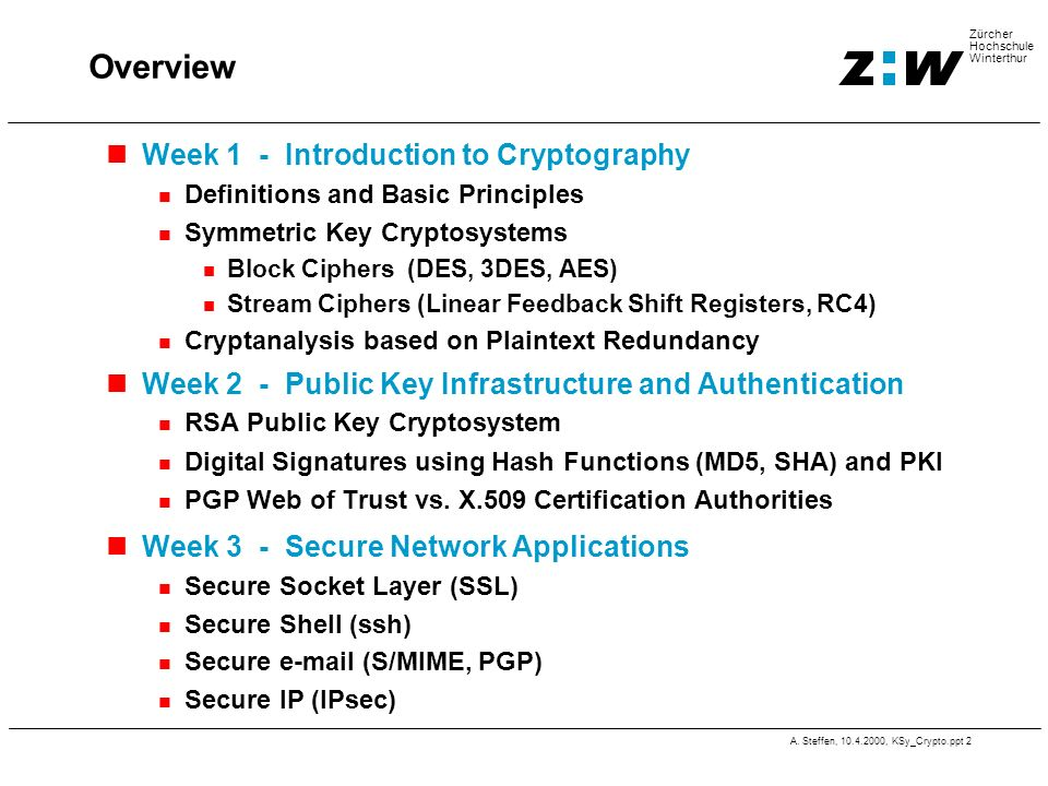 Overview Week 1 - Introduction to Cryptography