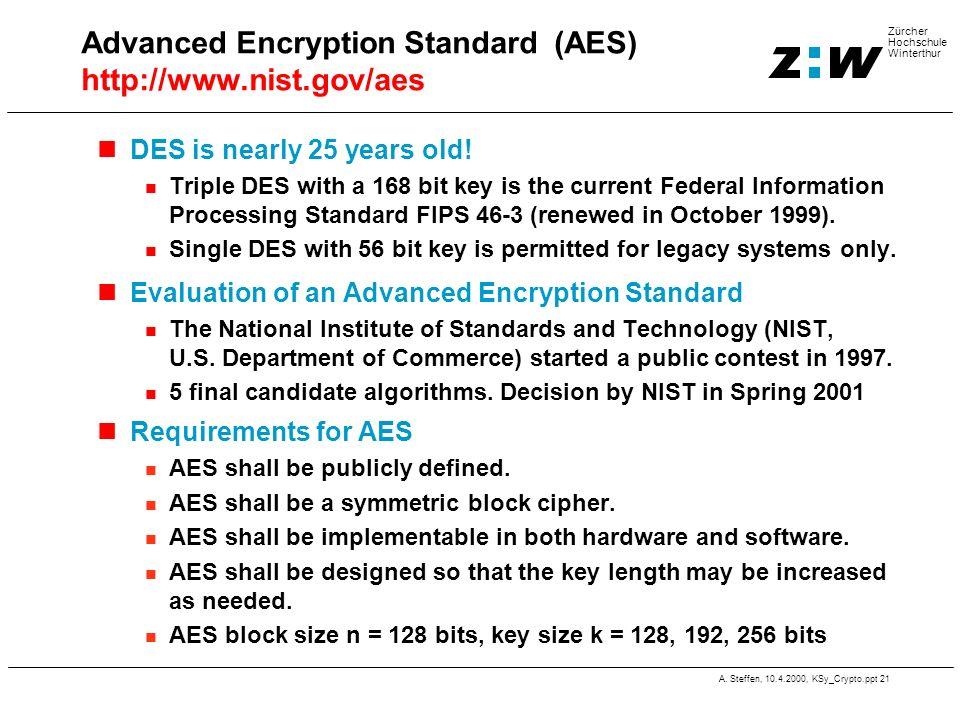 Advanced Encryption Standard (AES) http://www.nist.gov/aes