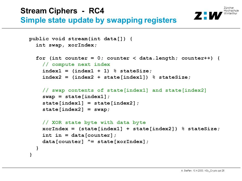 Stream Ciphers - RC4 Simple state update by swapping registers