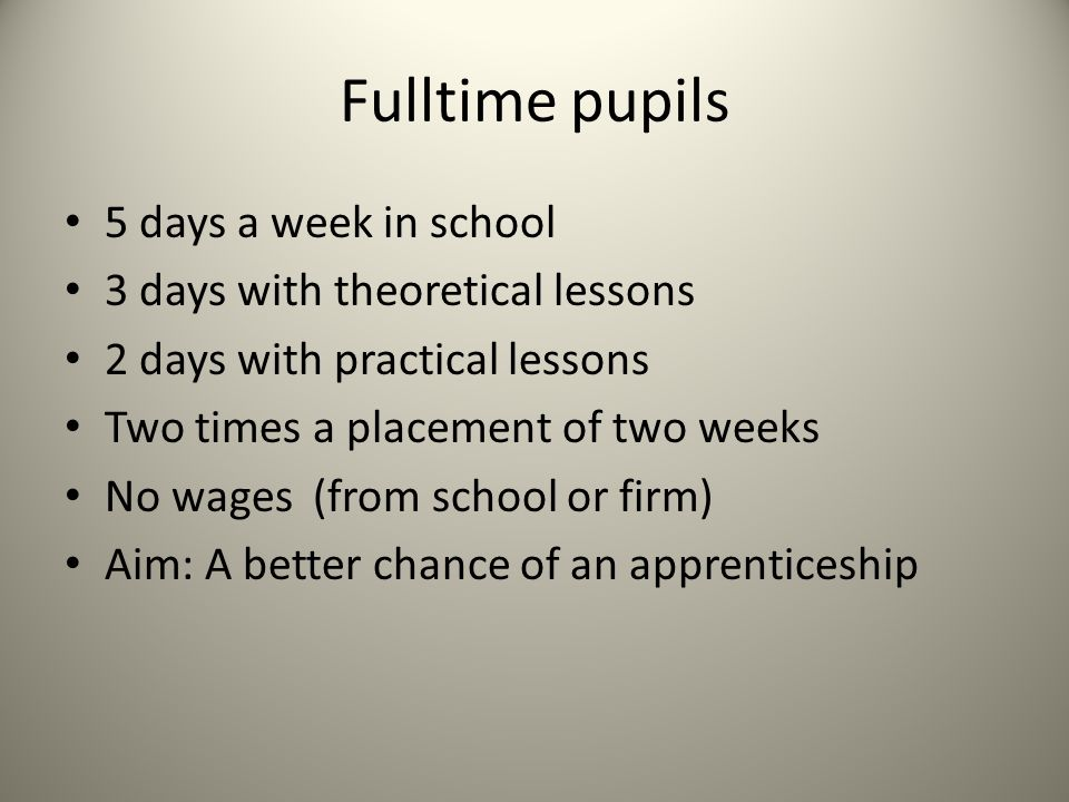 Fulltime pupils 5 days a week in school