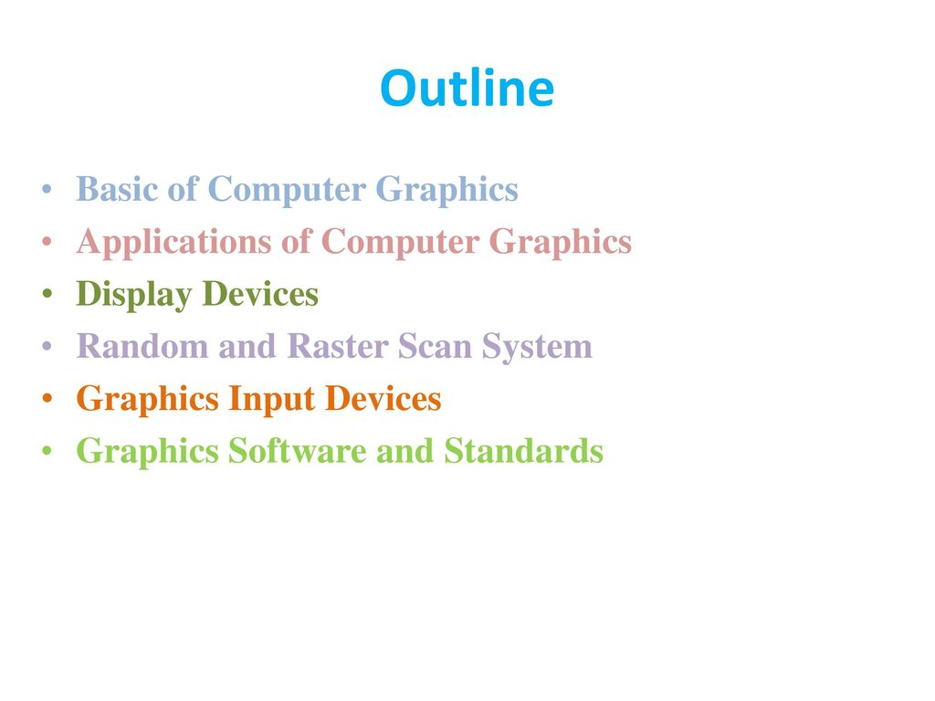 Outline Basic of Computer Graphics Applications of Computer Graphics