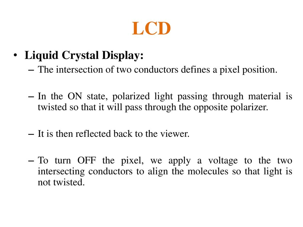LCD Liquid Crystal Display:
