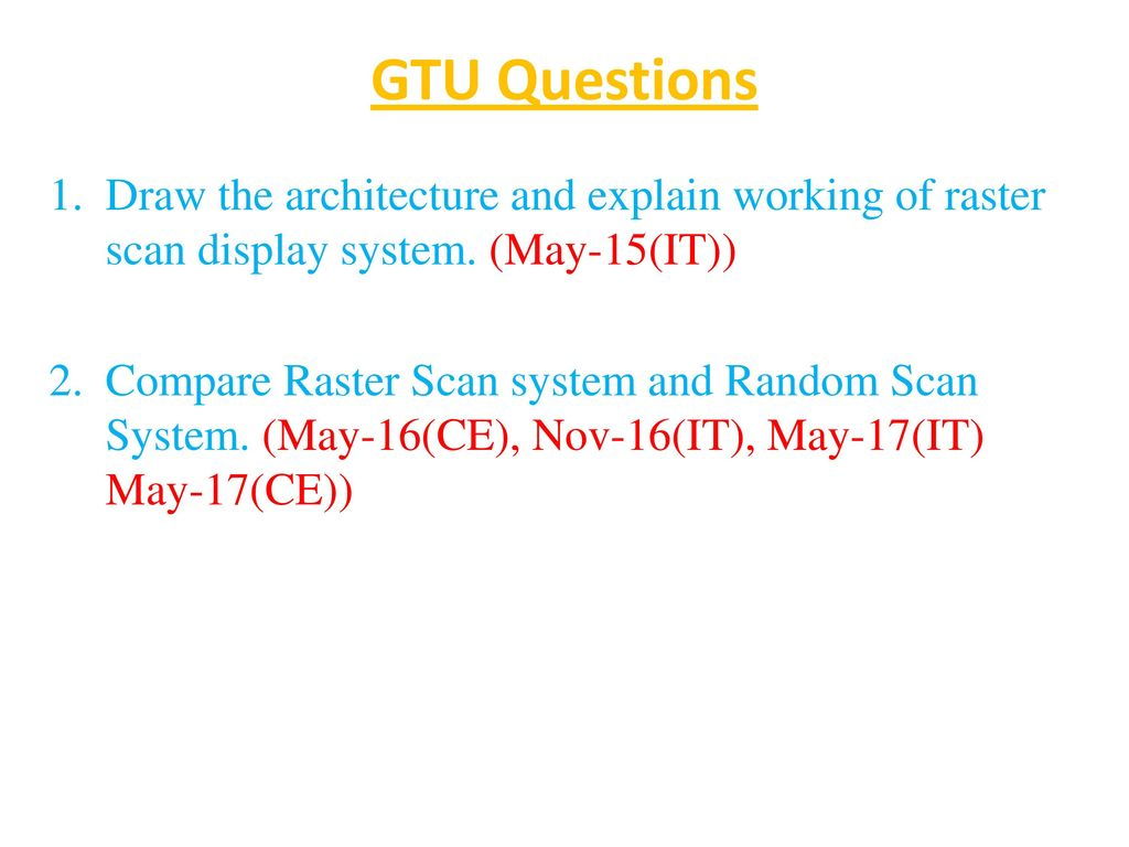 GTU Questions Draw the architecture and explain working of raster scan display system. (May-15(IT))