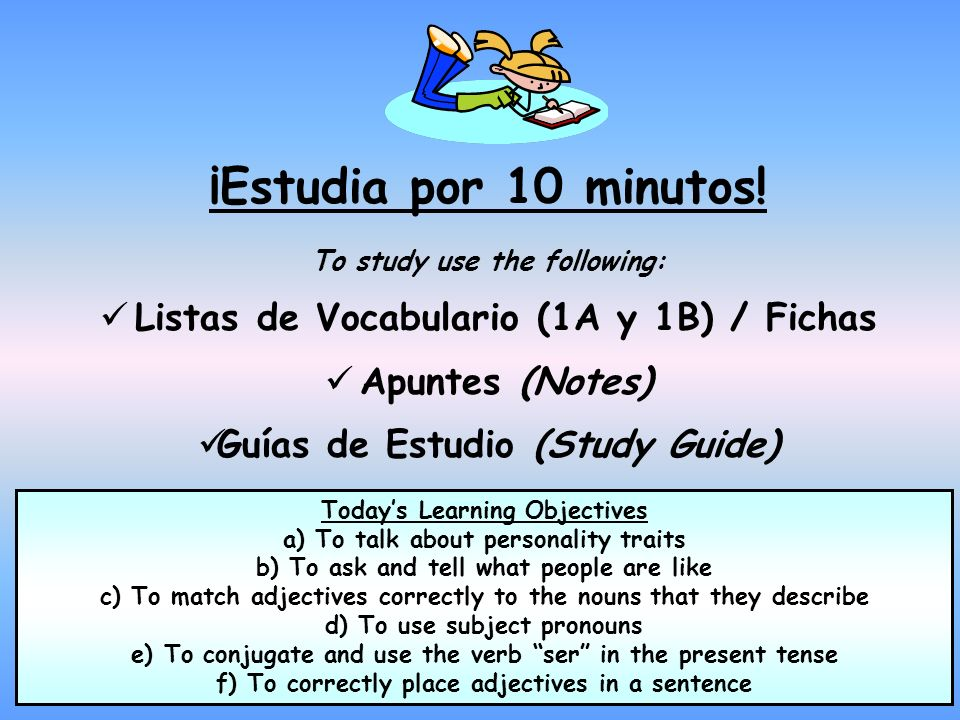 ¡Estudia por 10 minutos! Listas de Vocabulario (1A y 1B) / Fichas
