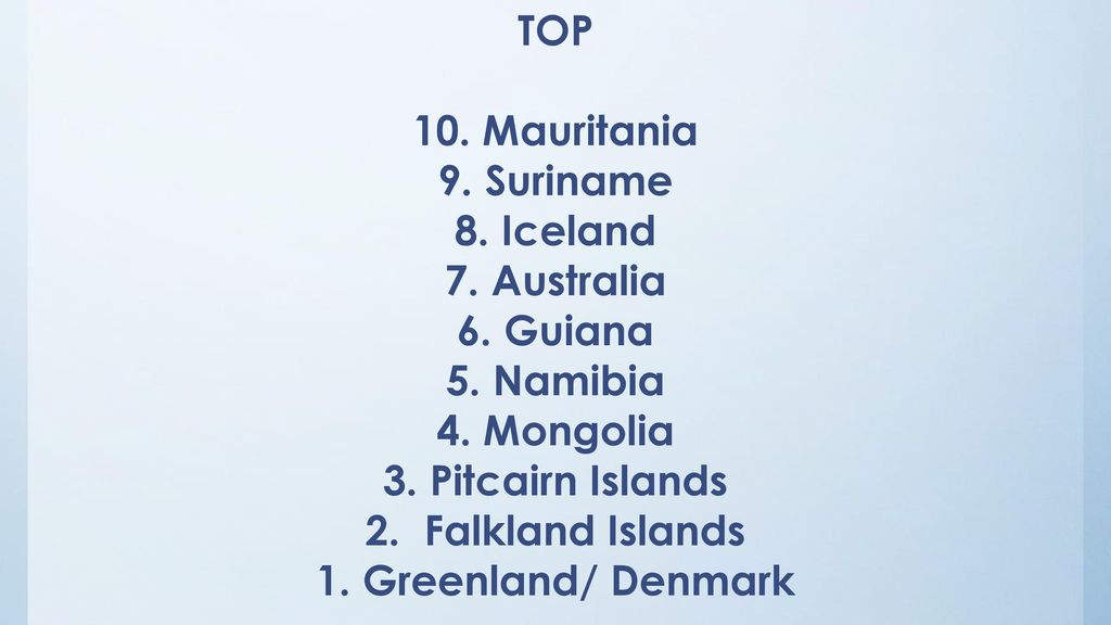 3. Pitcairn Islands 2. Falkland Islands