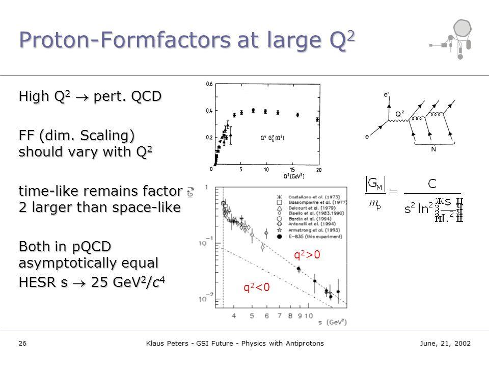 Proton-Formfactors at large Q2