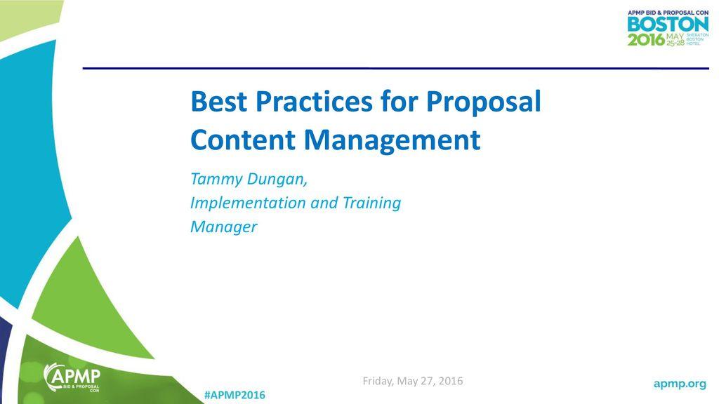 Best Practices For Proposal Content Management Ppt Download