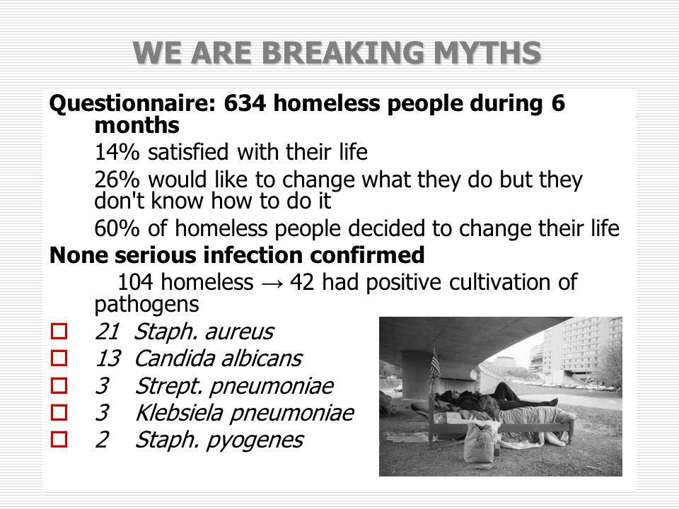 WE ARE BREAKING MYTHSQuestionnaire: 634 homeless people during 6 months. 14% satisfied with their life.