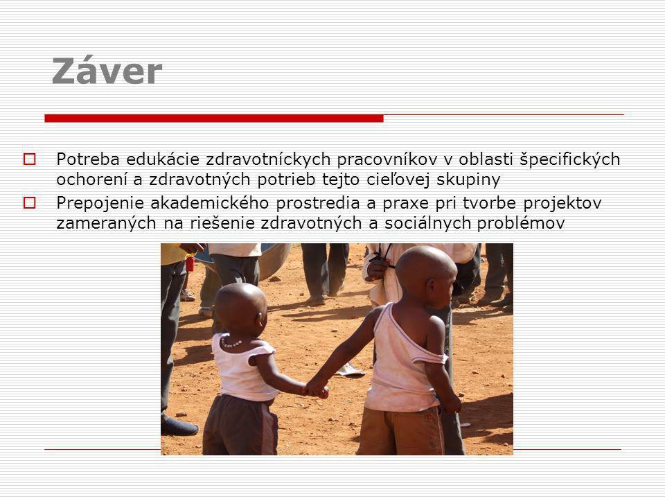 Záver Potreba edukácie zdravotníckych pracovníkov v oblasti špecifických ochorení a zdravotných potrieb tejto cieľovej skupiny.