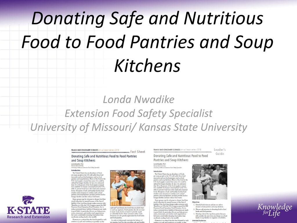 Donating Safe and Nutritious Food to Food Pantries and Soup Kitchens ...