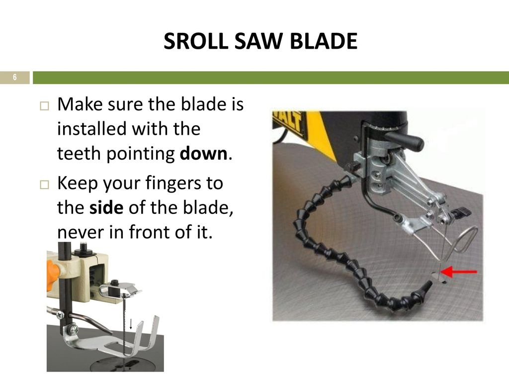 The scroll saw ppt download sroll saw blade make sure the blade is installed with the teeth pointing down greentooth Images