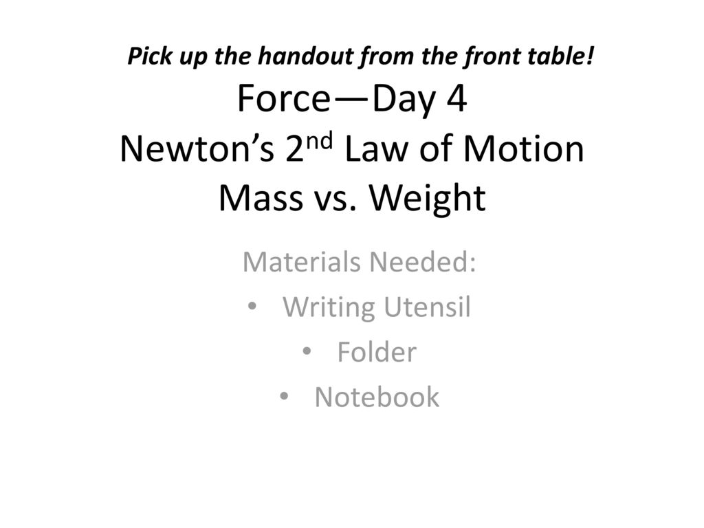 worksheet Mass Vs Weight Worksheet 4 newtons 2nd law of motion mass vs weight ppt download weight