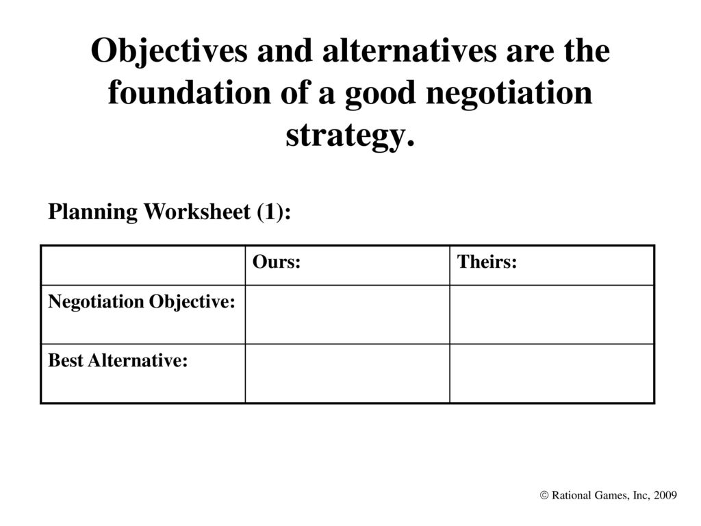 Worksheets Negotiation Worksheet leaders as negotiators lessons in conflict resolution ppt download objectives and alternatives are the foundation of a good negotiation strategy
