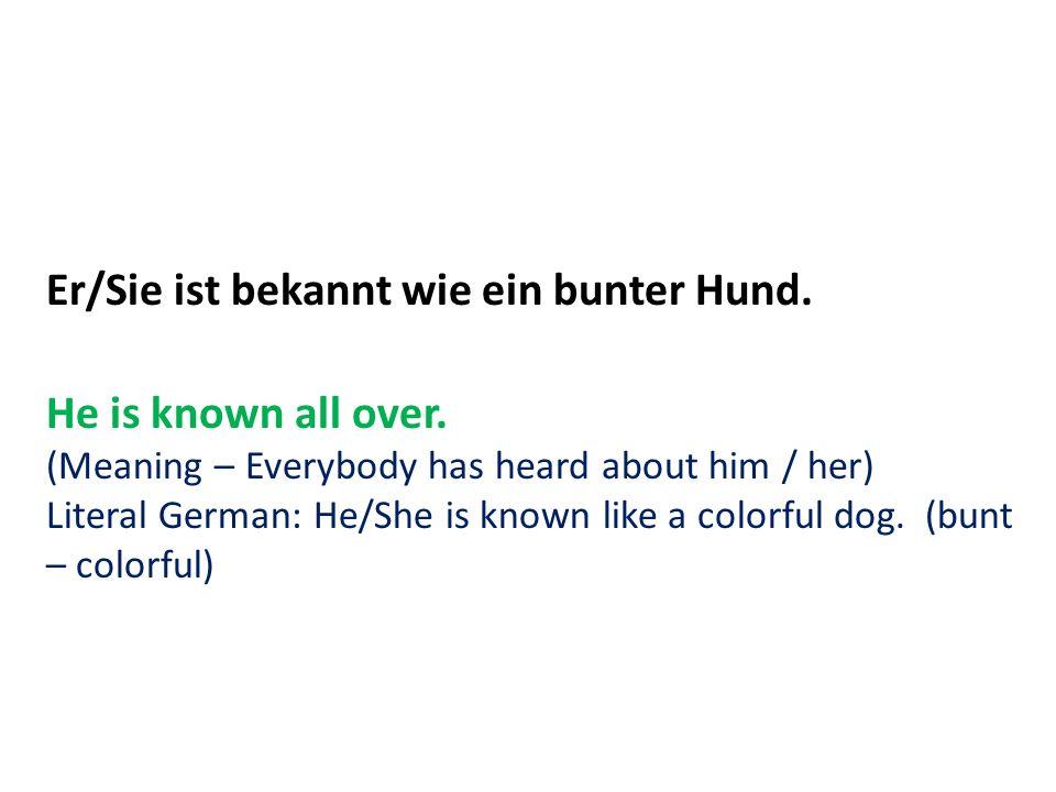 Er/Sie ist bekannt wie ein bunter Hund.