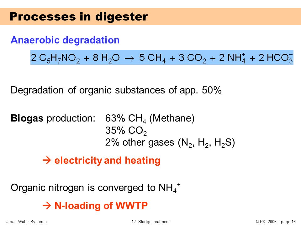 Processes in digester Anaerobic degradation