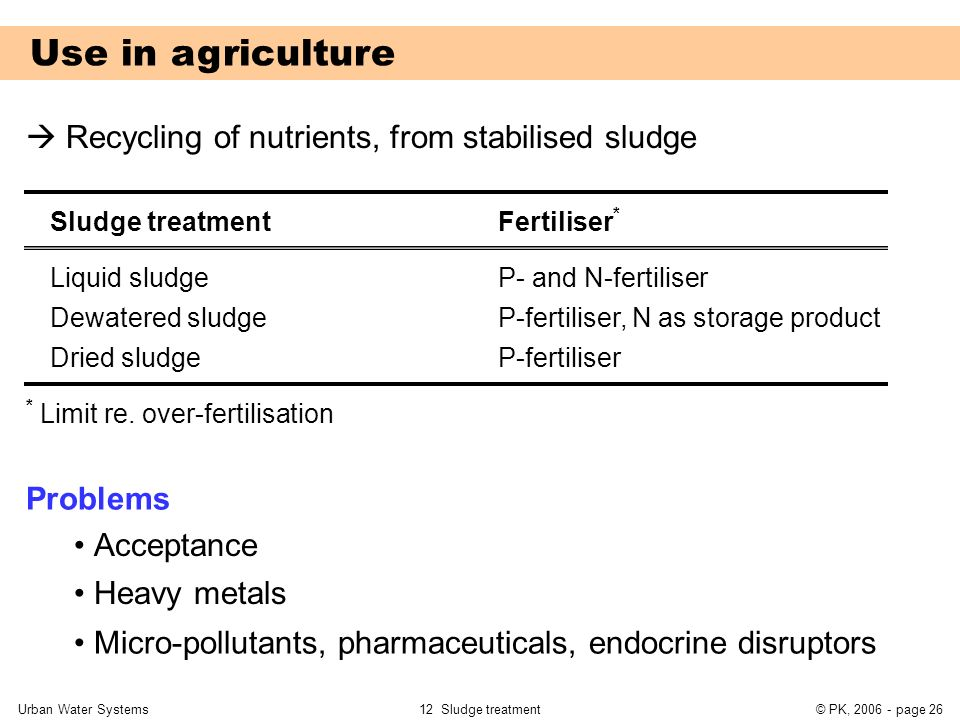 Use in agriculture  Recycling of nutrients, from stabilised sludge