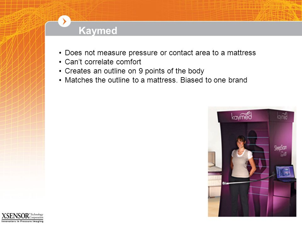 Kaymed Does not measure pressure or contact area to a mattress
