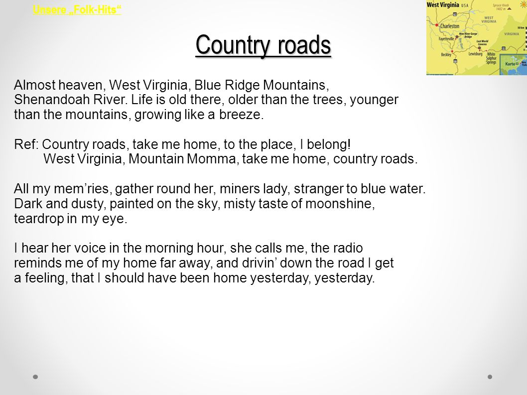 Country roads Almost heaven, West Virginia, Blue Ridge Mountains,
