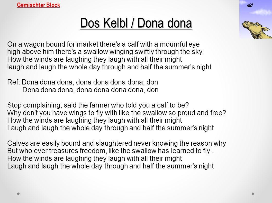 Gemischter Block Dos Kelbl / Dona dona.