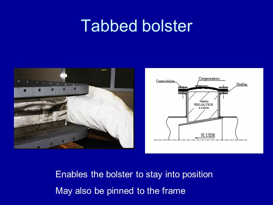 Tabbed bolster Enables the bolster to stay into position