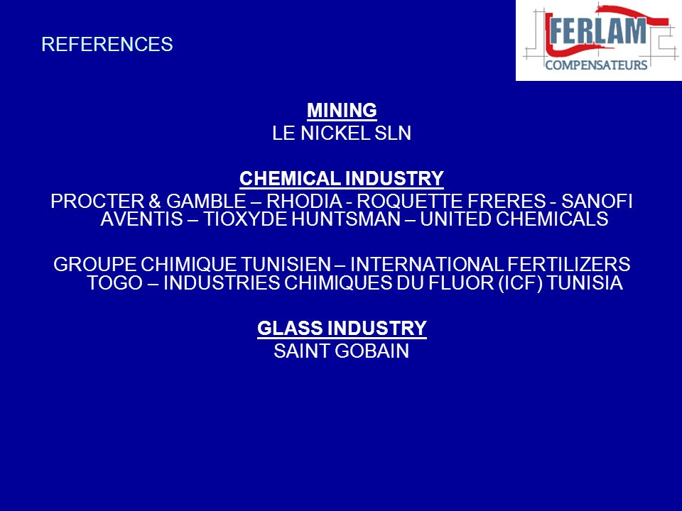 REFERENCES MINING. LE NICKEL SLN. CHEMICAL INDUSTRY.